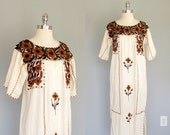 Vintage Embroidered Kaftan, Kaftan Dress, Caftan Dress,  Moo Moo Dress, Boho Maxi Dress, 1970s, Gauze Dress, Hippie Dress, Boho Chic Dress