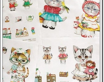 Cotton Linen Fabric Cloth -DIY Cloth Art Manual Cloth-Bath Cat 55*16 Inches