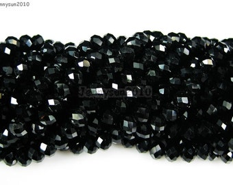 100Pcs Jet Black Czech Crystal 2mm x 3mm Faceted Rondelle Loose Spacer Beads For Bracelet Necklace Jewery Making Crafts