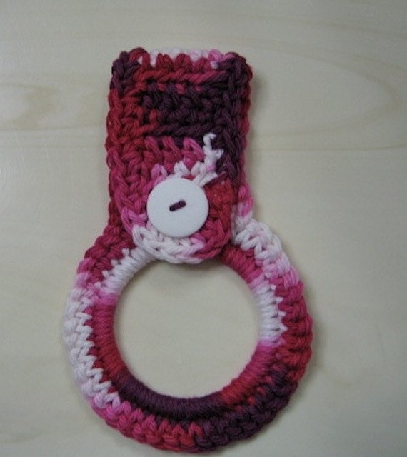 Crocheted Kitchen Towel Ring Holder Magenta And White