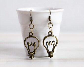 Light bulb Earrings, Antique Brass Bronze Earrings, Vintage Looking Earrings, Gift for Her