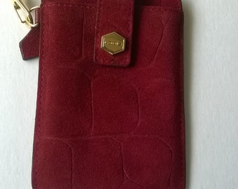 Red Suede Cell Wristlet Lodis Vintage