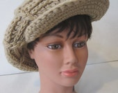K-Mart Satisfaction Always Hat Beret Cap Pom Brown Knit Womens Vintage E929s