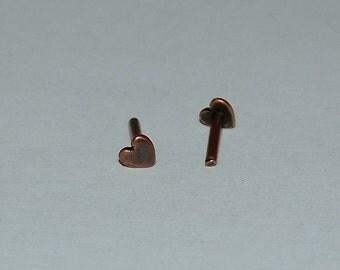 Antique Copper Plated Solid Rivet Heart Design Pkg Of 10