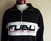vintage 90's FUBU Sports colorblock black white reverse pile fleece embroider applique logo graphic sweatshirt half zip jacket pullover XXL