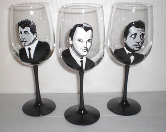 """Hand Painted """"Rat Pack"""" Wine Glass Set of 3- Frank, Sammy and Dean"""