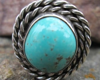 Turquoise and sterling silver ring. #17