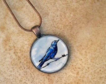 bird jewelry, blue, hand painted necklace, nature copper pendant