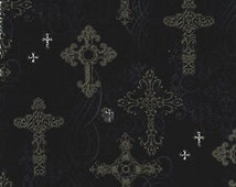 Fat Quarter Ornate Crosses Gothic Design Cotton Quilting Fabric - 50cm x 55cm