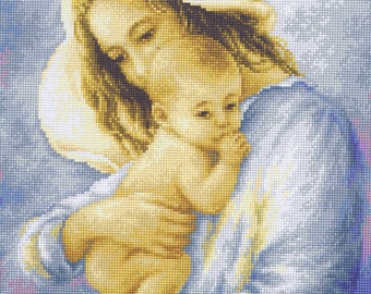 Mother And Baby Child Cross Stitch Kit 15 x 20cm Luca S G537