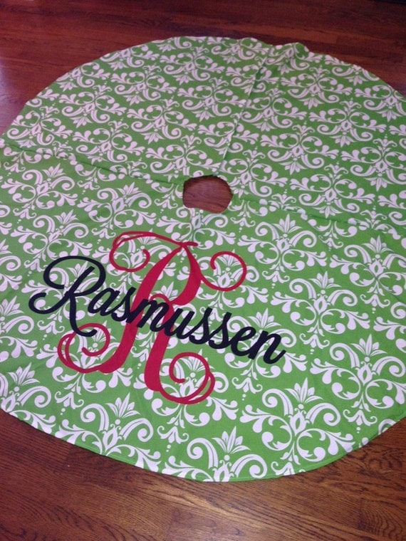 Items similar to large personalized christmas tree skirt