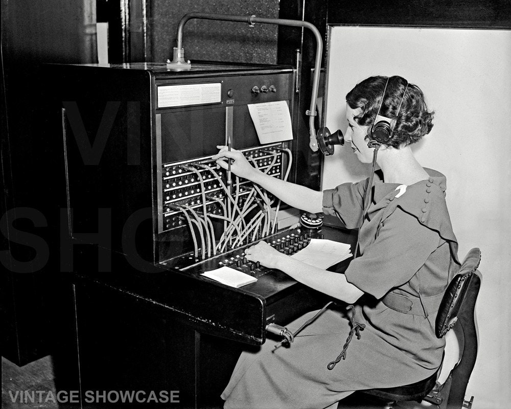 vintage photo w operating western electric pbx switchboard 🔎zoom