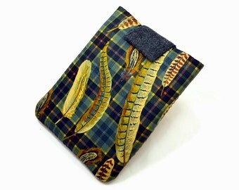 Hand Crafted Tablet Case from Feathers Cotton Fabric / Case for iPad, Kindle Fire HD, Samsung Galaxy, Nook HD, Google Nexus, iPadmini, Asus