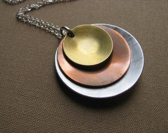 SALE- Silver, Copper, Gold Layered Domed Circles Necklace- Brushed Metal