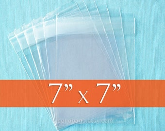 300 Square 7 x 7 Inch Clear Resealable Cello Bags, Plastic Packaging, Acid Free