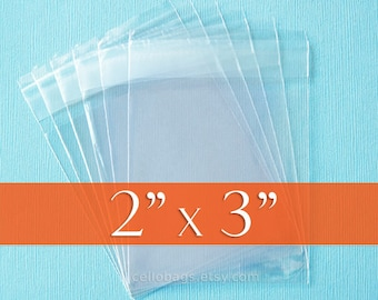 "100 2x3 inches Resealable Cello Bags, Clear Cellophane Plastic Packaging, Acid Free (2"" x 3"")"