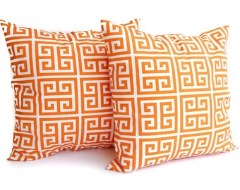 "Orange pillow covers set of two 22"" x 22"" Orange Greek Key pillow cover set"