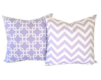 "Lavender throw pillow covers set of two 18"" x 18"" wisteria purple and white Chevron zig zag and Gotcha modern home decor"