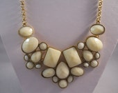 SALE Bib Necklace with Gold and Cream Color Pendants on a Gold Tone Chain