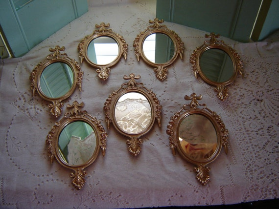 Gold Metal Wall Mirror: Painted Gold Mirrors-Italian Metal Mirrors-Wall By