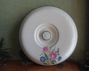 Vintage Flowered Casserole Cover With Green Trim       (T)