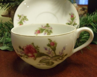 Delicate Rose Bud Porcelain Tea Cup and Saucer, Made In Japan Tea Cup & Saucer
