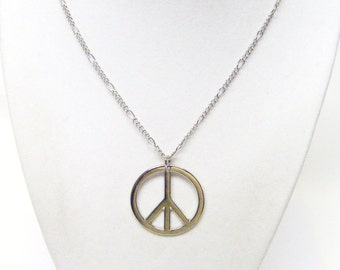 Smooth Silver Plated Peace Symbol Necklace