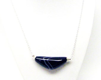 "Semi-Precious Dyed Black Onyx Cubic Zirconia Pendant Necklace –Stone, 24"""