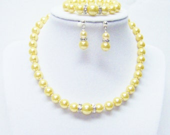 Yellow Glass Pearl Necklace/Bracelet & Earrings Set for Little Girl