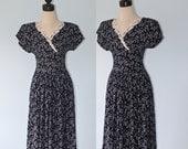 Vintage Black Calico Print MAXI Dress . 1990s Black Floral White Lace Long Boho Hippie Dress . Size Small