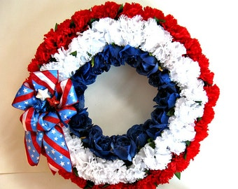 Stars and stripes Memorial Day celebration, Fourth of July decoration, Patriotic holiday wreath, Red white & blue holiday decoration (J46)