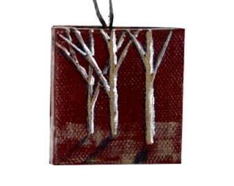 Marsala Tree Landscape, Miniature Art Painting, Hostess Gift, Marsala Miniature, Marsala Art