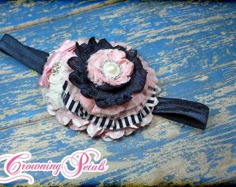 Light Pink, Navy Blue Headband, Baby Pink, Blush, White Flower Hair Accessory, Hair Clip, Hair Piece, Hairbow, Flower Headband, Accessories
