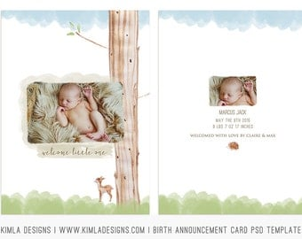 5x7 Birth Announcement Card PSD Template