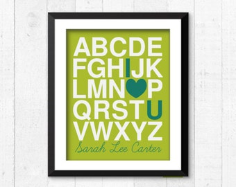 Alphabet I love you, personnalized art, Kids Decor, Kids Wall Art, Baby Decor, Nursery print, alphabet print, alphabet nursery, abc print