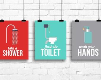 Retro bathroom decor, wash your hands, flush the toilet, take a shower, bathroom rules art, retro bathroom prints, bathroom decor, A-3006