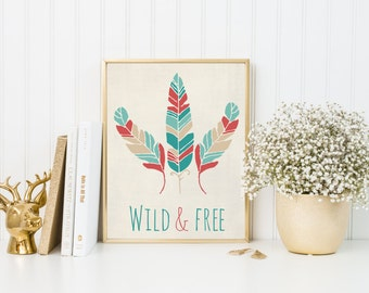 Wild and free art print, tribal feathers art, tribal decor, nursery tribal art, nursery wall, baby nursery poster, tribal poster, A-1048