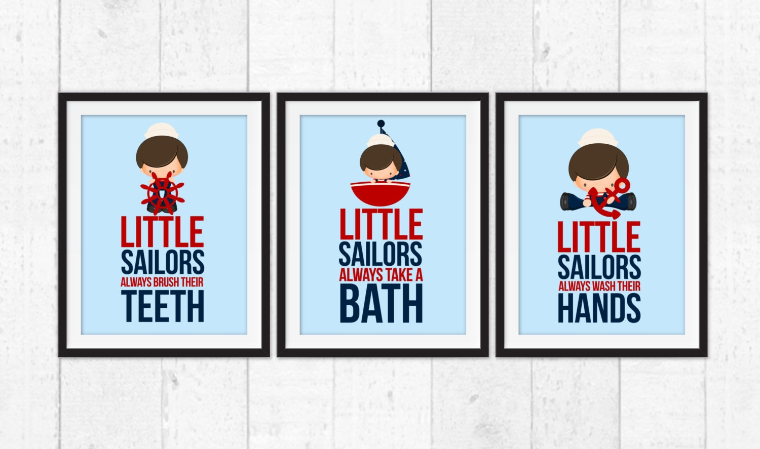 Little Sailors Bathroom Rules Nautical Decor Bathroom Rules Art Funny Children Bathroom Decor