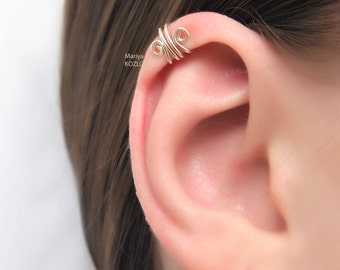 No Piercing Silver Scroll Ear Cuff for the Upper Ear/top cartilage ear cuff/helix piercing imitation/fake faux piercing/ohrklemme manschette