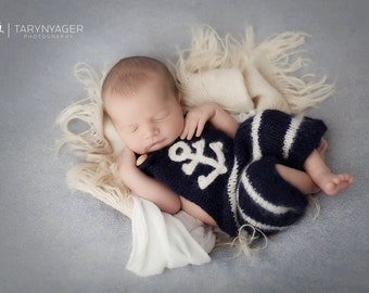 Original Design Ahoy Hand Knitted Romper, Newborn Overalls, Nautical Baby Overalls, Newborn Photography prop --- Made to order