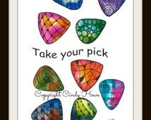 Watercolor card (No. 27), guitar picks, picks, music, greeting card, original art, blank inside, take your pick