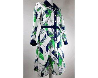 1970 graphic DRESS  winter  medium long sleeves