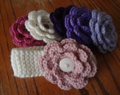 Knit Baby Headband with Flowers - Ivory - Flowers are Ivory, Lt Rose, Dk Rose, Lavender, Purple, and Dark Purple - Flowers Button on and off