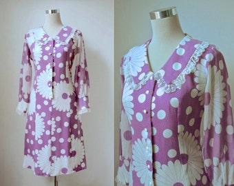 RESERVED 1960's Mod Dress - Workers Union Label - Polka Dot & Daisy Print - Vintage 60's Dress