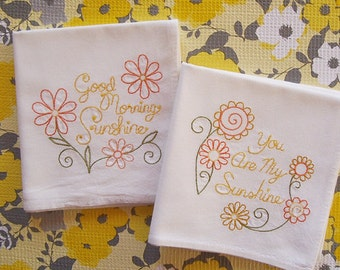 Embroidered Set of Happy Sunshine Kitchen Towels Machine Embroidered