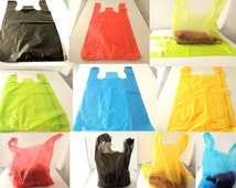 100 11 x 21 inch Colored Plastic Merchandise Bags, T-Shirt Bags, Craft show Bags, Clothing Plastic Party Favor Bags, Blue, Red, Lime, Black