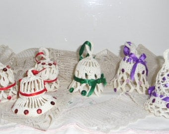Victorian Style Ornaments - Three Crocheted Bells, Handmade Bells, Wedding Decor, Mother's Day Gift, Christmas Decor