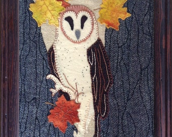"Wool Applique PATTERN - 4 seasons FALL ""Who's In The Tree"" Owl Wall Hanging or Quilt block."