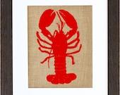 Red Lobster Art, Burlap Art, Lobster print, Nautical Wall Art, Burlap Wall Art, Frame Included