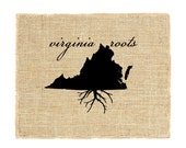 Virginia Roots Unframed Print, Burlap Print, Burlap Art, Wall Art, Burlap, State Roots